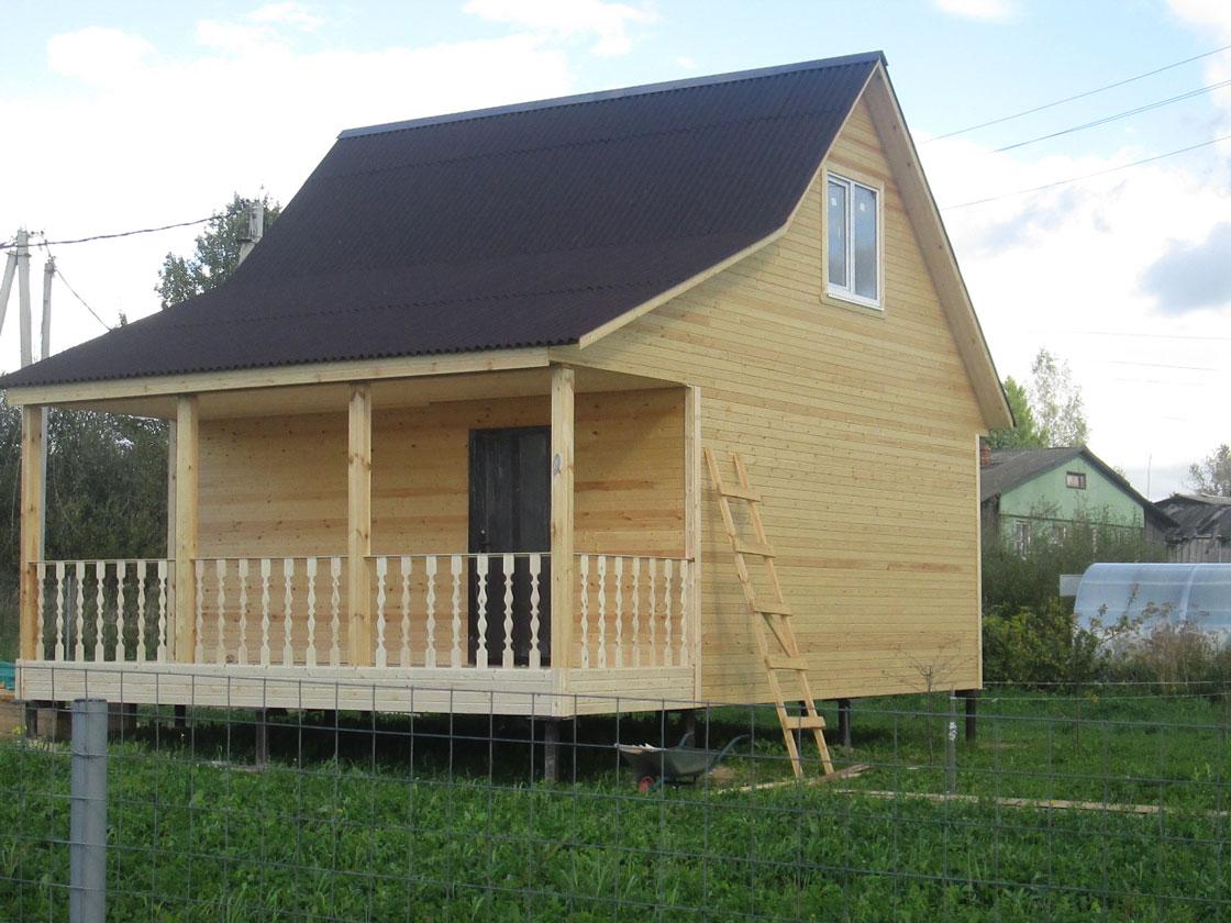 Каркасный дом 6х6 с террасой д.Захарьино