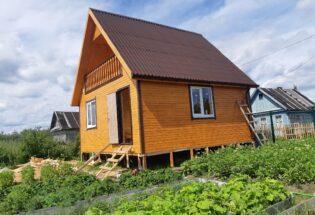 Каркасный дом 6х6м с мансардным этажом и балконом, п.Панковка Новгородской области