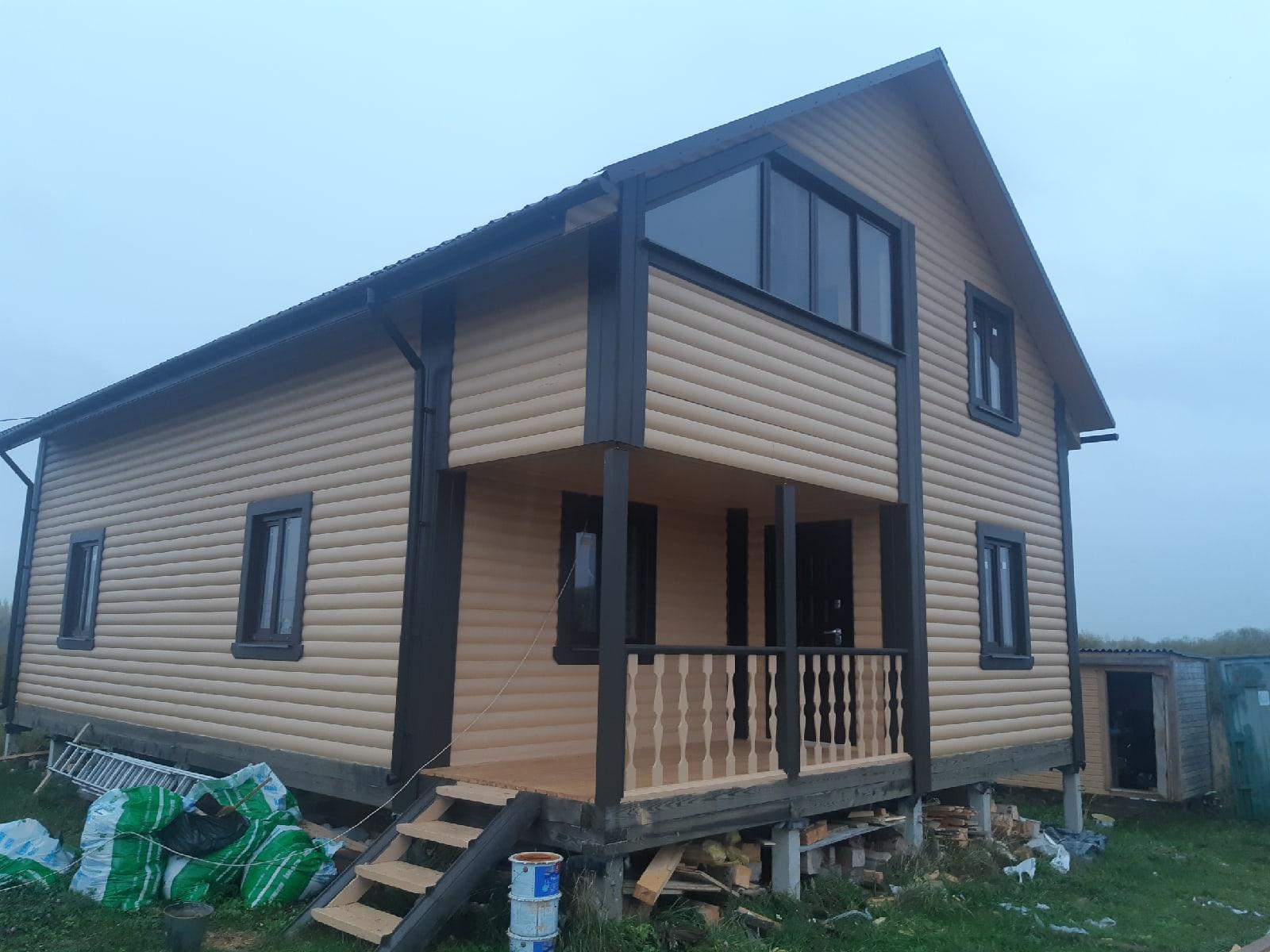 Дом 8х12м из профилированного бруса в д.Козынево Новгородской области